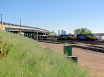100629018 Westbound Northstar commuter passes under University Ave at BNSF Northtown Yard