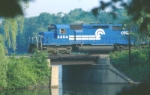 TV16 crosses the Oradell Reservoir southbound on Conrail's River Line