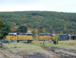 A New England Central freight rolls through the diamond