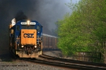 CSX Q279 has an engine failure and smokes up