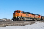 BNSF 6369 with BNSF 5833 start to pull west towards Gillette, Wyoming with a loaded coal train.