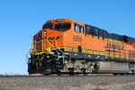 BNSF 6369 starts to pull west towards Gillette, Wyoming with a loaded coal train.