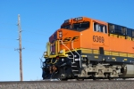 Close up shot of BNSF 6369 as the sun reflects of her BNSF Swoosh logo.