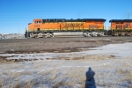 BNSF 6369 and BNSF 5833 pull towards Gillette, Wyoming with a westbound loaded coal