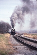 Strasburg 2-6-0 pulls westbound out of Groff's Picnic Grove