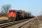CN 2563 heads west with a short train