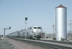 AMTK 90 east bound #4 passes the classic Santa Fe water tower at mp205