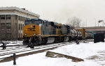 CSX 944 bring identified Q manifest into Springfield Station