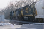 CSX 8709, 8450 and 4452 clear railroad crossing