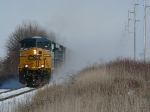 CF&E WB GRLI with CSX 5379 and 5414 leading 130 emtpy Cargill grain hoppers west of Upper Sandusky on 1/28/2010.