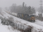 CSX 797 & 456 roll west through the thick snow with Q335-24