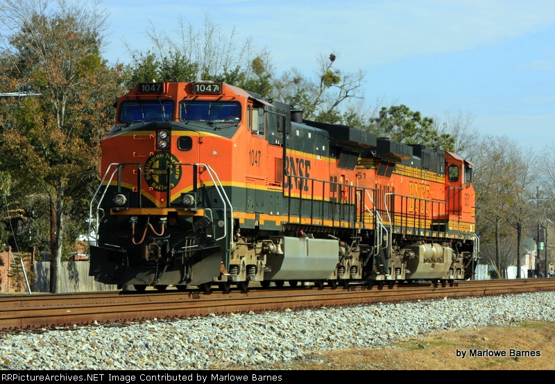 BNSF 1047 & 5151 parked east of the Larabee Rd. crossing