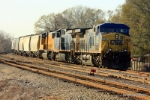 CSX 284 and this string of covered hoppers is parked just west of UP MP 12.40