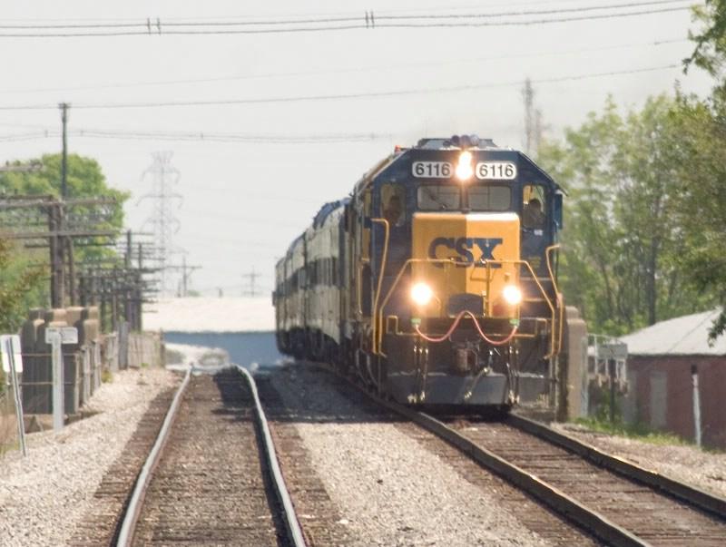 CSX 6116 leads the annual Derby Train into Louisville. CSX's Louisville Terminal Sub. MP 0.2. Kentucky Street. P907-07.