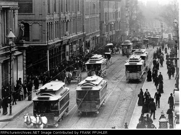 TREMONT ST WITH HORSE CARS C-1890