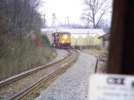Q214 south rounds the curve between mileposts 134 and 133