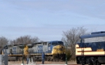 Q534 north passes fellow railfans Kevin and John Owens at the Historic Railpark & Museum