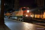 BNSF 7772 leads a late night southbound manifest through town at a brisk 10mph