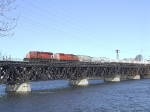 CP 6050 and an SD40-2F on train 250 crossing the Mohawk River