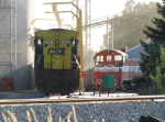 Under the evening sun, an elevator crew uses CSX 7357 to load a grain train as CSS 206 looks on