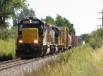 With 4124 in the lead, GDLK501 heads north with GDLK302's train also in tow
