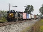 D708 pulls slowly down the siding before beginning their work around town