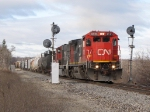 CN 2111 rolls south on the point of A490