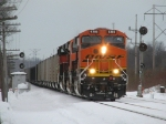 BNSF 6385 leads N903 past the signals at Grey