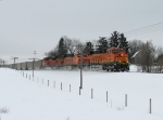 BNSF 6385 leads N903-12 northward through the countryside