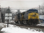 G010 pulls down off the Grand Ledge Industrial Spur with a loaded grain train