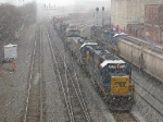 CSX Yard job backing up to Tilford as the snow falls