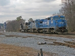 Two Conrails trailing on light engine move