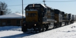 CSX 4407 with snow equipment on nose