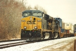 Westbound stack train awaits new crew