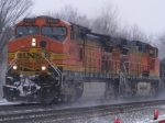 BNSF 4943 and 4322 blasting through a snowstorm in Omsted Falls OH