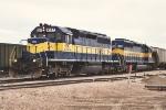Westbound grain train prepares to depart