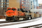 BNSF 9393 on the point of one of numerous unit coal trains that traverse through the city