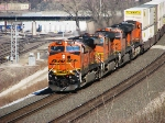 BNSF 7396 leads a Z-Train over Santa Fe Jct. into Argentine Yard.
