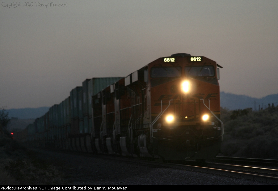 BNSF 6612 Meets Night as it Does 70 MPH Towards Barstow