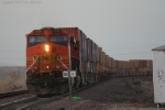 BNSF 5036 Works Hard Pushing a Long Stack Train doing 70 MPH