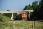 BNSF 7581 and mates pop under the Hwy 37 bridge into the morning sun