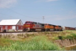 BNSF 933 leads two other units elephat style
