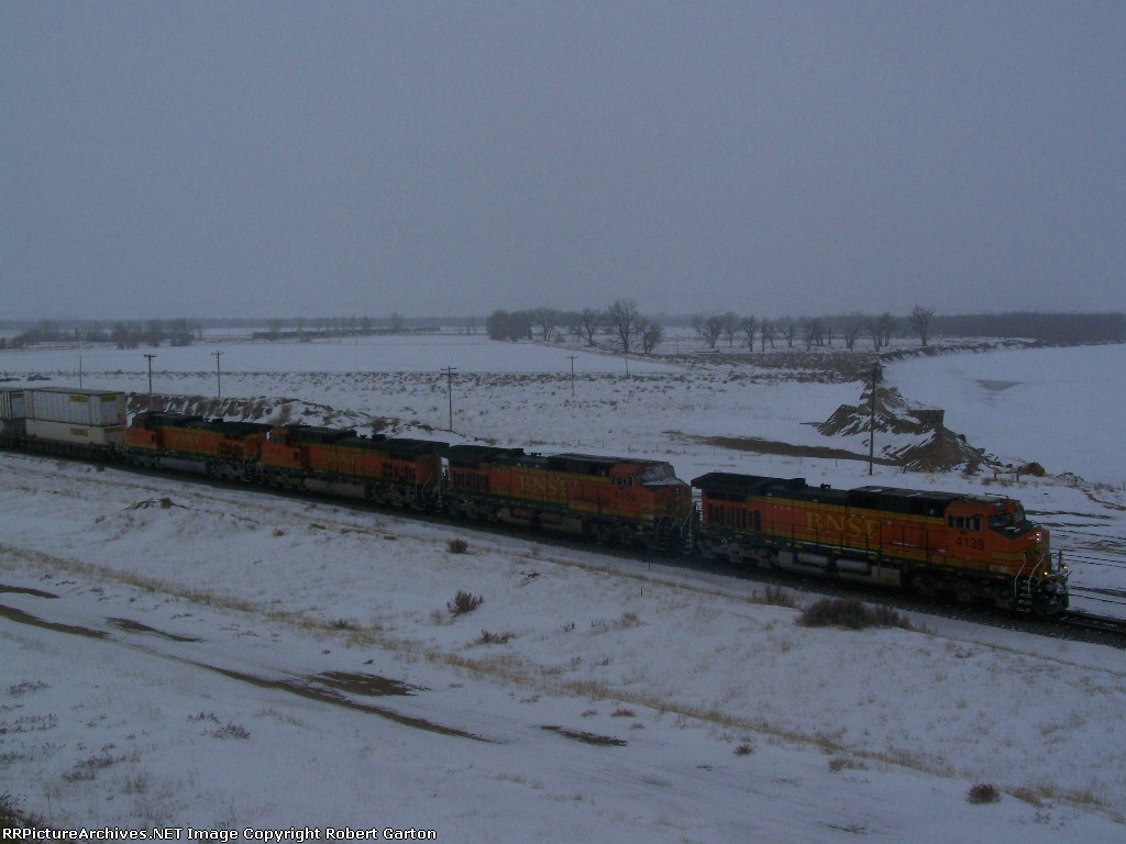 Lots of Power on a Westbound Doublestack Train