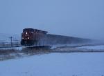 CP 9761 Runs a String of Empty Gondolas NW to Saskatchewan in the Snow