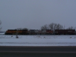 Eastbound Grain Train Waits for a Green Signal