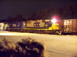 CSX 2725 MOVES SOME FREIGHT AROUND IN MILLVILLE RAILROAD YARD ON A COLD WINTER'S NIGHT