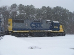 CSX 2725 SITS IN MILLVILLE RAILROAD YARD ON A SNOWY DAY IN FEBRUARY