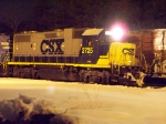 CSX 2725 DOING SOME WORK IN MILLVILLE RAILROAD YARD AT NIGHT IN THE SNOW