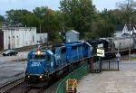 NS 5416, a rare SD50 still in Conrail paint, leads 359 into the yard