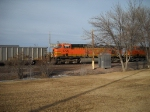 BNSF 5725 is 3rd head end unit wb in downtown